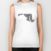 maryland Biker Tanks featuring Typographic Maryland by CAPow!