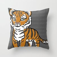 tigers Throw Pillows featuring TIGERs by hoshi-kou