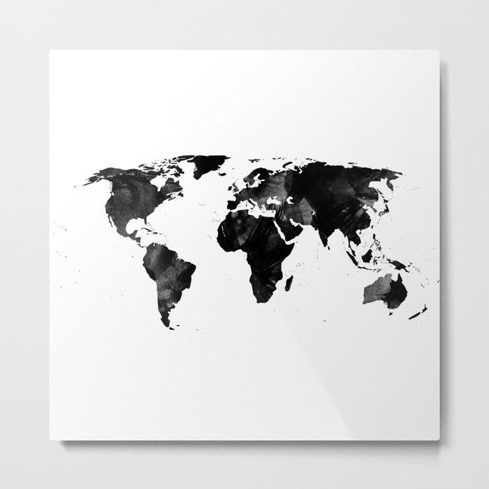 Black watercolor world map Metal Print