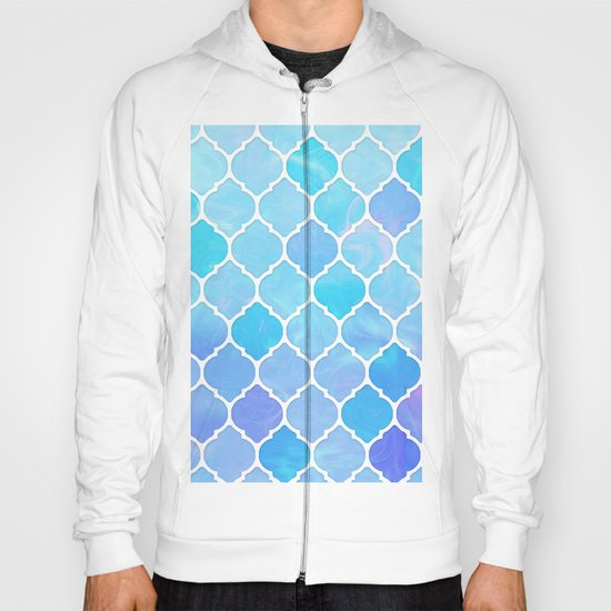 Blue and purple glass Moroccan print Hoody