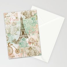 I love Paris- Vintage Shabby Chic - Eiffeltower France Flowers Floral Stationery Cards