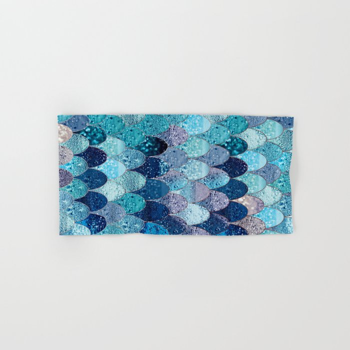 Summer Mermaid Dark Teal Hand Bath Towel