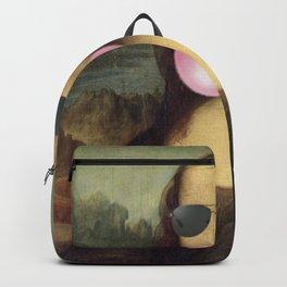 "Bubble Gum ""Cool Girl"" Mona Lisa pop art portrait painting by Leonardo da Vinci Backpack"