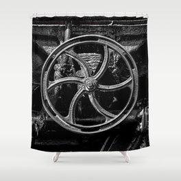 Steam Train Big Boy Valve Hand Wheel Detail Black and White Fine Art Photography Shower Curtain