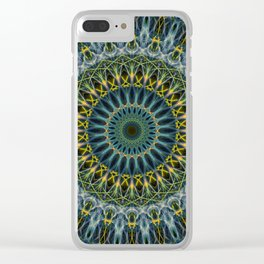 Blue and yellow mandala Clear iPhone Case