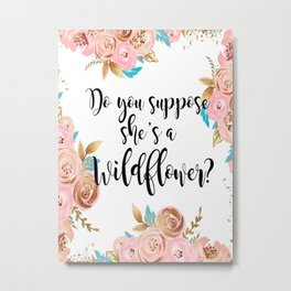 Blush and gold wildflower Metal Print