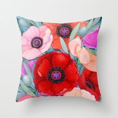 Poppy and Olive Watercolor  Throw Pillow