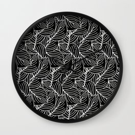 Simple Leaves Pattern - White on Black - Mix & Match with Simplicity of life Wall Clock