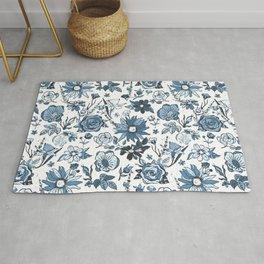 Teal Blue & White Garden Chintz Rug