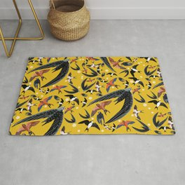 Swallows Martins and Swift pattern Yellow Rug