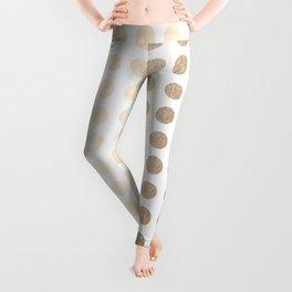 Simply Polka Dots in White Gold Sands Leggings