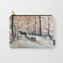 Sledging in the winter forest Carry-All Pouch