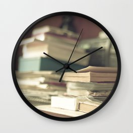 Pile of books  (Retro and Vintage Still Life Photography) Wall Clock
