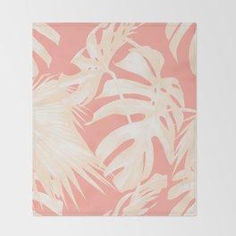 Tropical Coral Pink Palm Leaf Pattern Throw Blanket