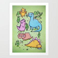 Prehistoric cats Art Print