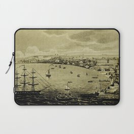 Vintage Bridgetown Barbados Pictorial Map (1820) Laptop Sleeve