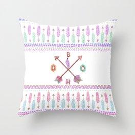 Boho Typogrpahy Tribal Aztec Feather Arrow Pattern Throw Pillow
