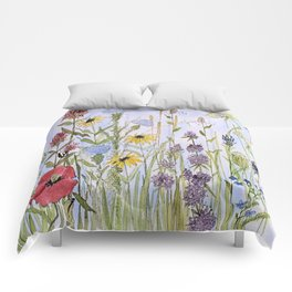 Wildflower Garden Watercolor Flower Illustration Comforters