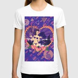 Island girl in violet bikini T-shirt