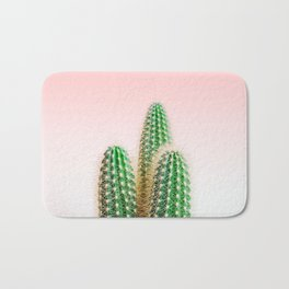 Modern colorful tropical cactus photography with pastel pink gradient Bath Mat