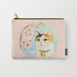 """Hanami"" - Calico Cat and Cherry Blossom Carry-All Pouch"