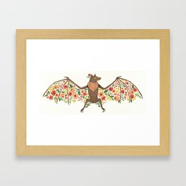 Floral Fruit Bat Framed Art Print