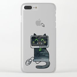Programmer cat  makes a website Clear iPhone Case