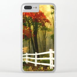 Fall scene with fence Clear iPhone Case