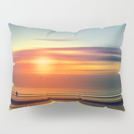 Bright Red - seascape sunset abstract Pillow Sham