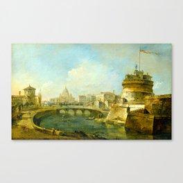 Francesco Guardi Fanciful View of the Castel Sant'Angelo, Rome Canvas Print