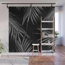 Silver Gray Black Palm Leaves Dream #1 #tropical #decor #art #society6 Wall Mural