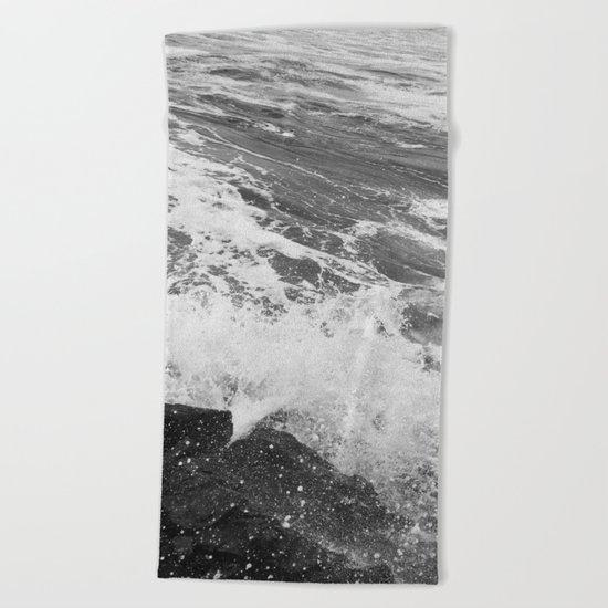 SEA on Black and White Beach Towel