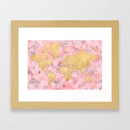 Gold and pink marble world map Framed Art Print