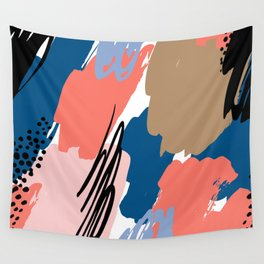 Pastel pink navy blue white abstract brushstrokes pattern Wall Tapestry