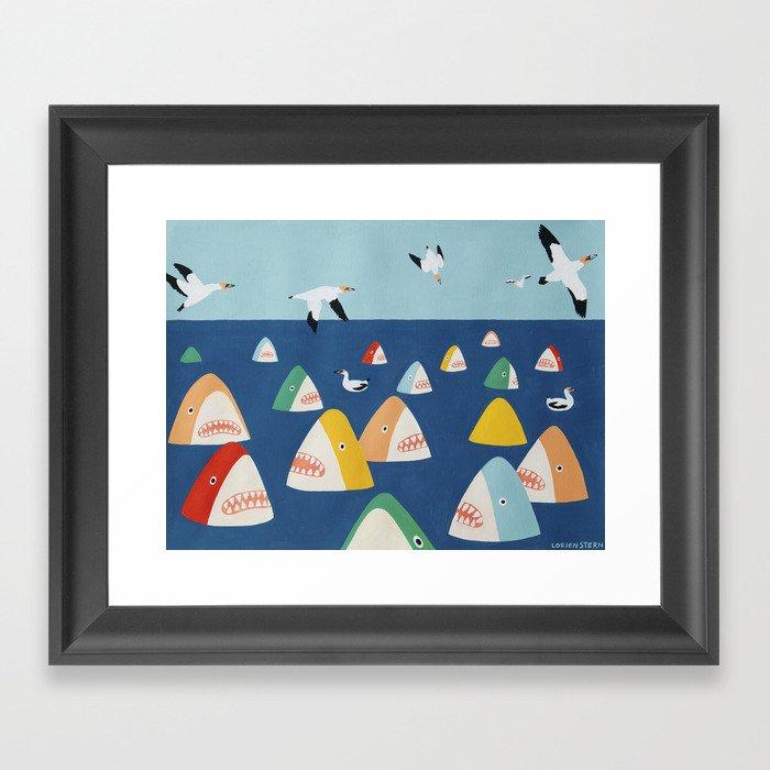 Shark Park Gerahmter Kunstdruck
