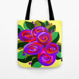 A Bouquet of Big Flowers with Yellow Background and Purple Tones Tote Bag