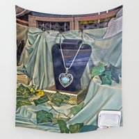 shopping Wall Tapestries featuring Window Shopping by Frankie Cat