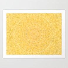 The Most Detailed Intricate Mandala (Mustard Yellow) Maze Zentangle Hand Drawn Popular Trending Art Print