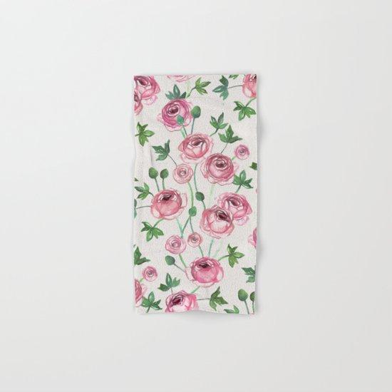 Painted Pink Ranunculus Pattern Hand & Bath Towel
