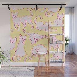 Cat Crazy yellow Wall Mural