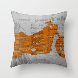 Triumph motorcycle newspaper collage, cut paper, original abstract art for men gift Throw Pillow