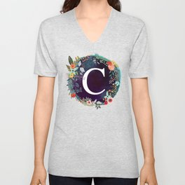 Personalized Monogram Initial Letter C Floral Wreath Artwork Unisex V-Neck