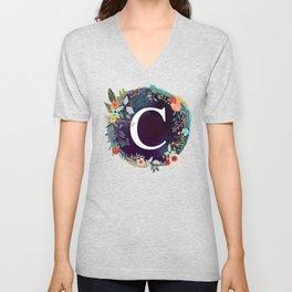 Personalized Monogram Initial Letter C Floral Wreath Artwork Unisex V-Neck