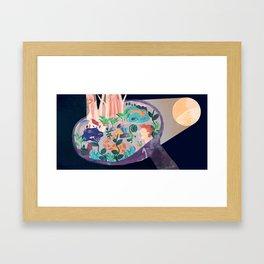 Moon Hug Framed Art Print