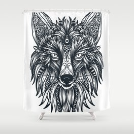 Fox Wolf Tribal Head Shower Curtain