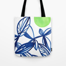 Navy blue and lime green abstract leaves Tote Bag