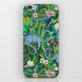 Improbable Botanical with Dinosaurs - dark green iPhone Skin