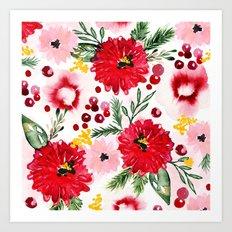 Christmas Floral Art Print