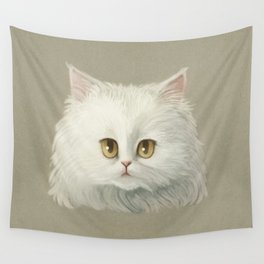 My White Cat's Face Wall Tapestry