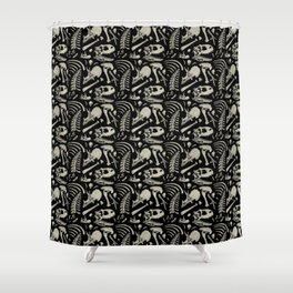 Dino Bones Black Shower Curtain